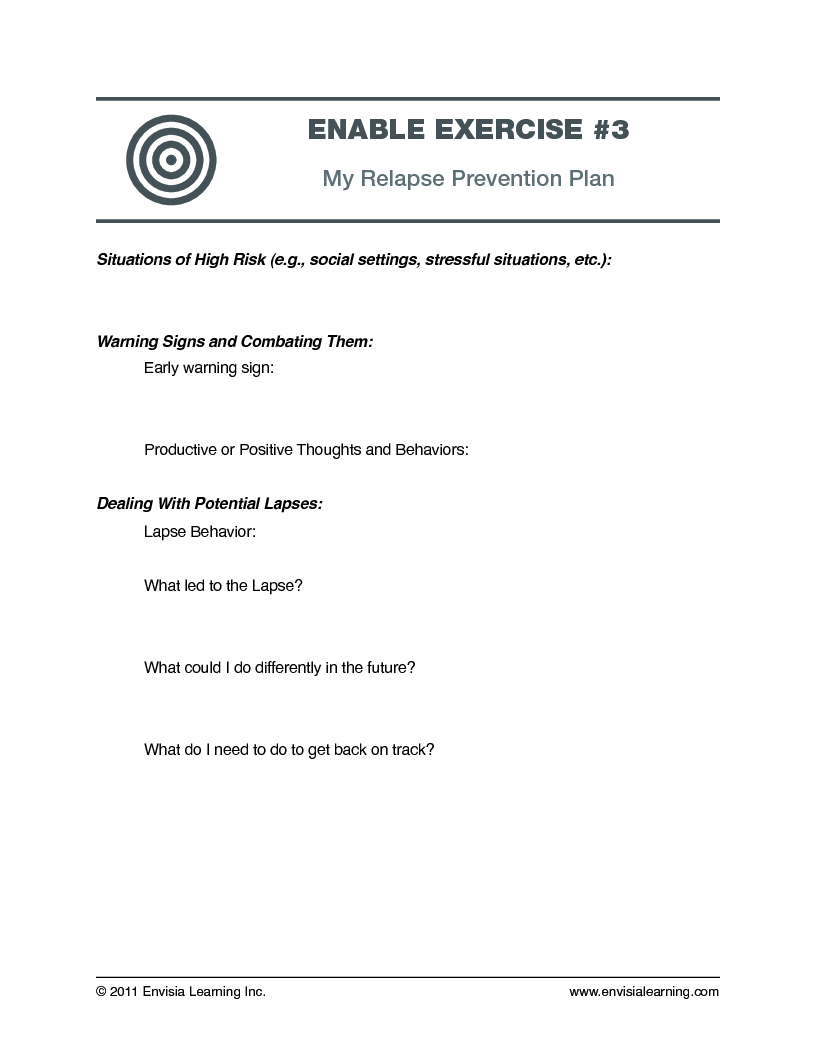 worksheet High Risk Situations For Relapse Worksheet envisias leadership development blogfree coaching exercises my relapse prevention plan