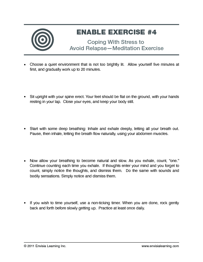 Envisias Leadership Development BlogFree Coaching Exercises – High Risk Situations for Relapse Worksheet