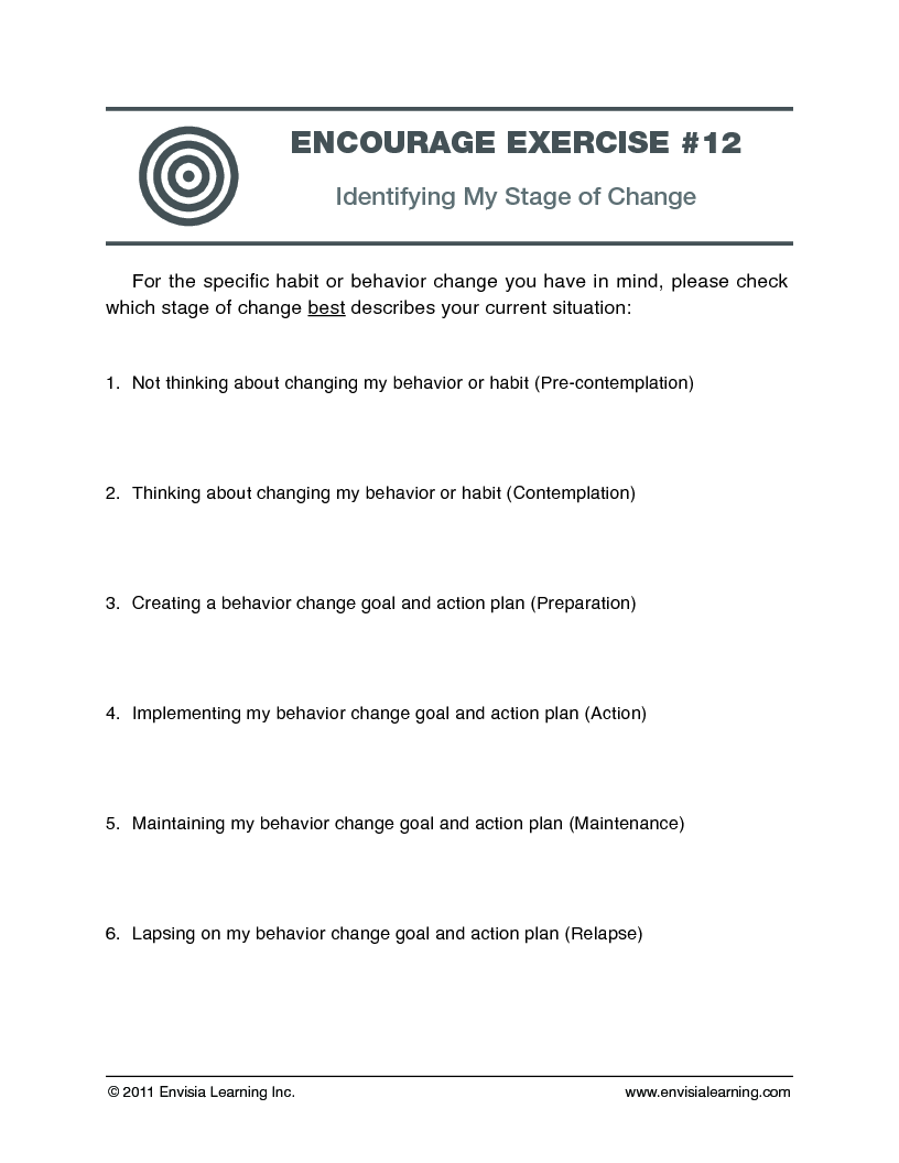 Free Coaching Exercise Identifying My Stage of Change – Stages of Change Worksheet